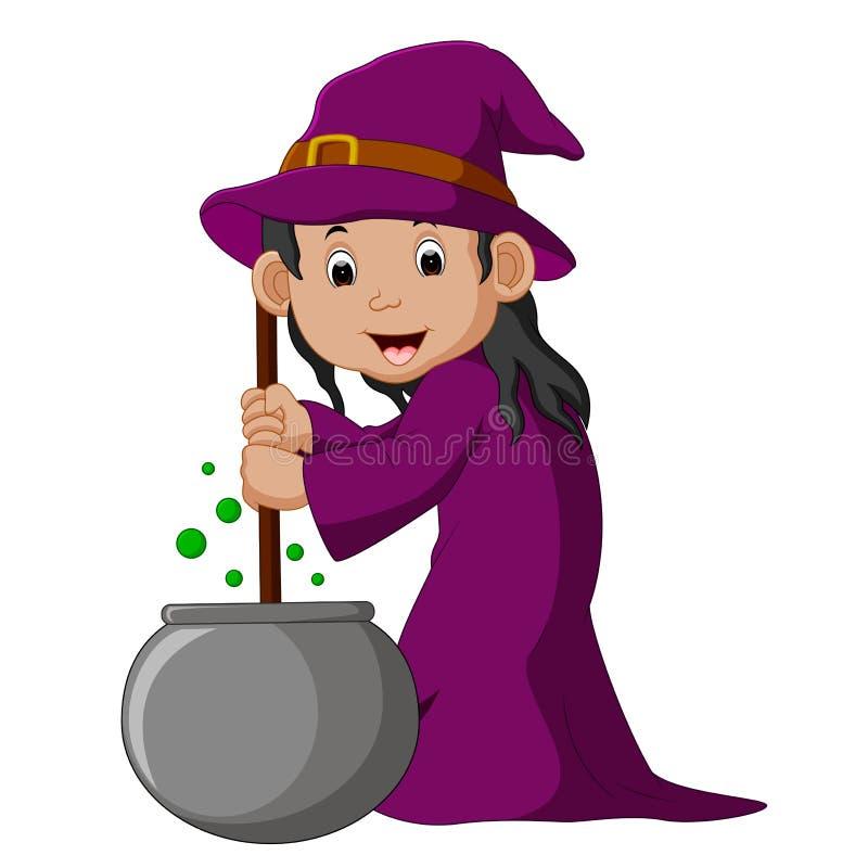 Bruxa pequena dos desenhos animados que prepara a poção ilustração royalty free