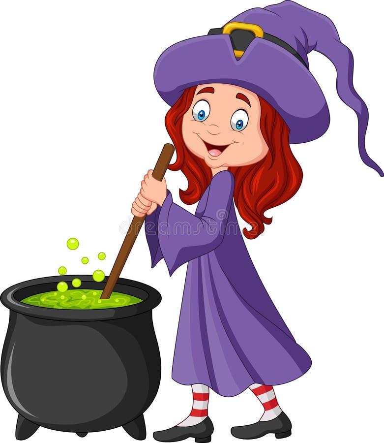Bruxa pequena dos desenhos animados que prepara a poção ilustração stock