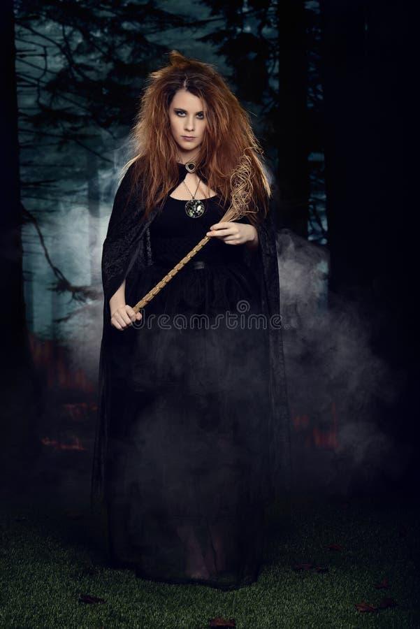 Bruxa que anda através de uma floresta com névoa foto de stock