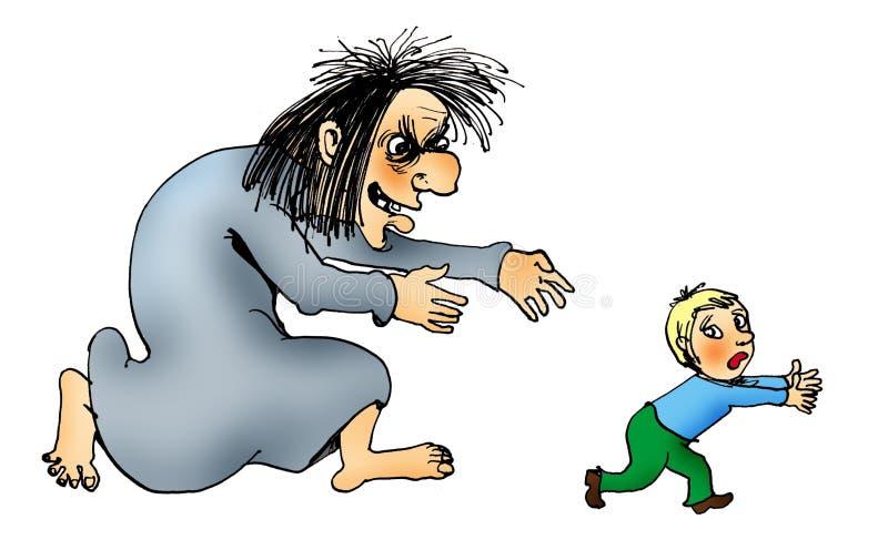 Bruxa que trava uma criança ilustração stock