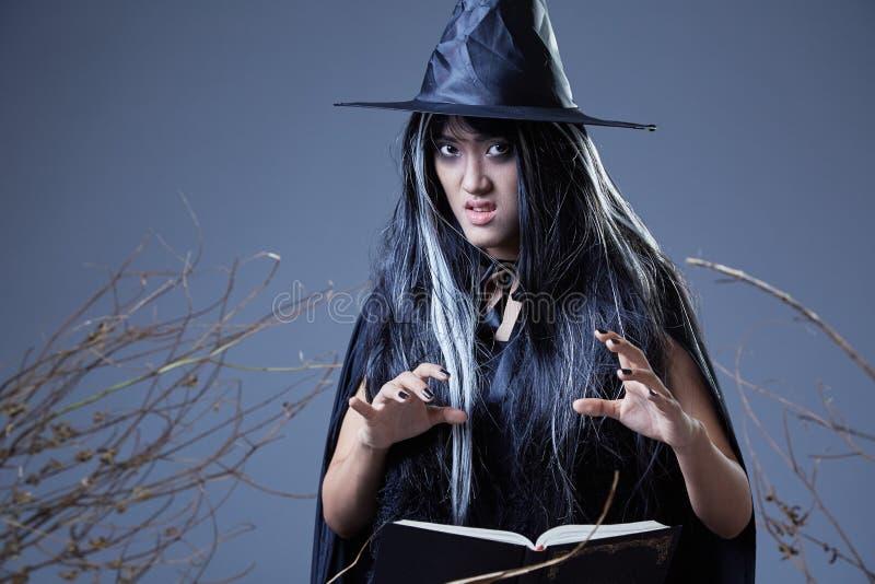 Bruxa que usa o livro do período imagens de stock royalty free