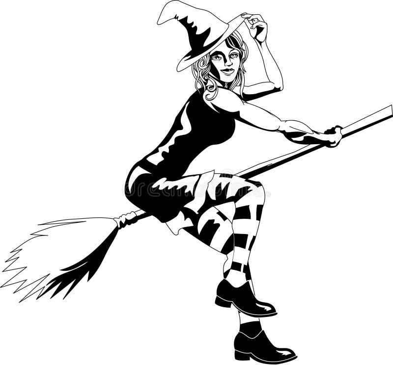Bruxa 'sexy' preto e branco ilustração royalty free