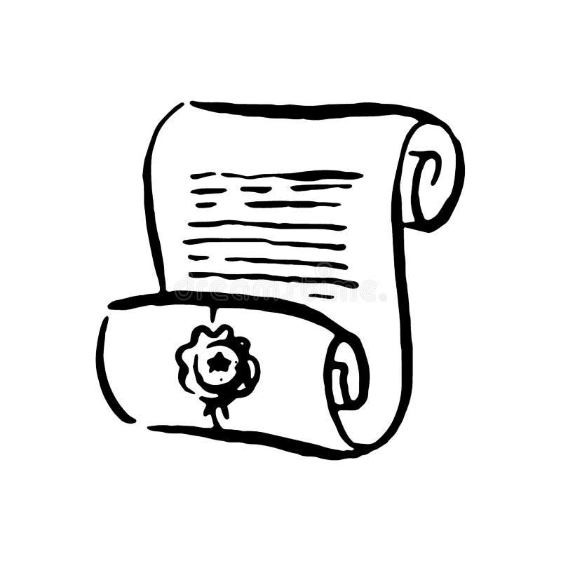 Bruxa tirada mão do vetor e ilustração mágica do artigo do rolo no fundo branco ilustração do vetor