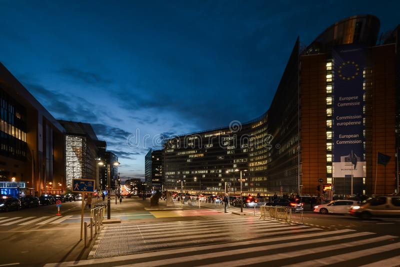 Bruxelas, Bruxelas/Bélgica - 10 15 2019: Edifício Berlaymont - sede da Comissão Europeia foto de stock royalty free