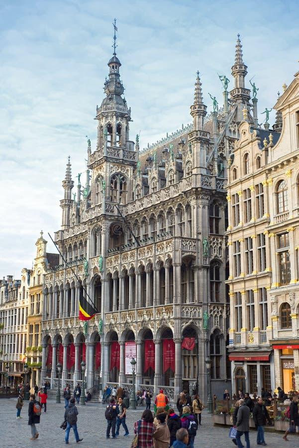 Bruxelas, Bélgica, - Grand Place, o 17 de fevereiro de 2014: Foto da GR fotografia de stock royalty free