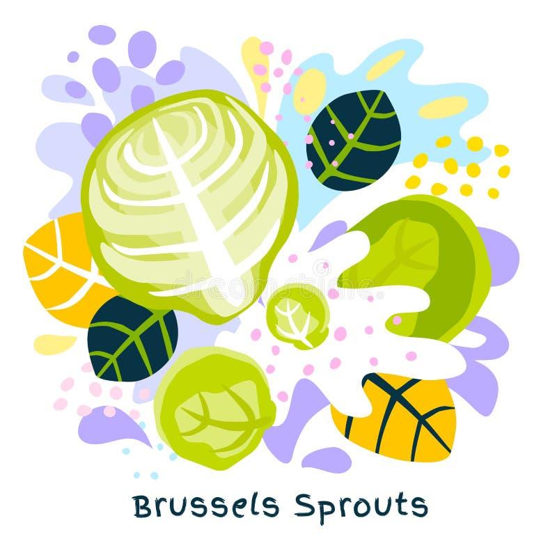 Bruxelas fresca couve a couve que o alimento biológico do respingo do suco vegetal em coloful abstrato chapinha o vetor do fundo  ilustração do vetor
