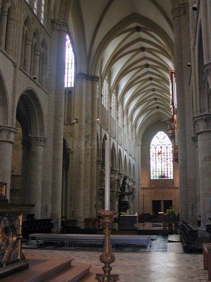 Bruxelas - nave central da catedral fotografia de stock