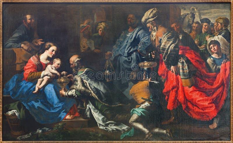 Bruxelles - adoration des Rois mages par le peintre Theodor van Loon de 17 cent dans l'église de Saint-Nicolas photographie stock libre de droits