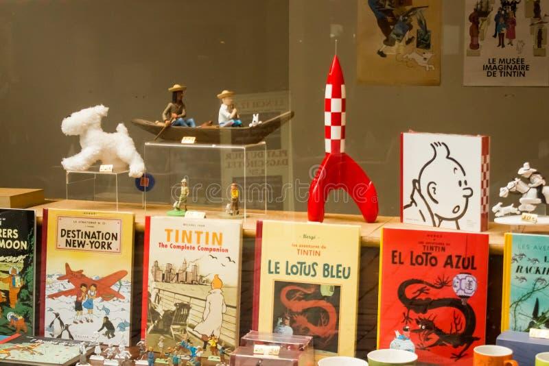 Bruxelles, Belgio: Vetrina della vita di Tintin immagini stock libere da diritti