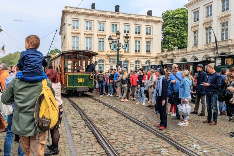 BRUXELLES, BELGIQUE - 1ER MAI 2019 : 150TH ANNIVERSAIRE DE LA TRAMWAY ? BRUXELLES, 150EME ANNIVERSAIRE DU TRAMWAY A BRUXELLES image stock