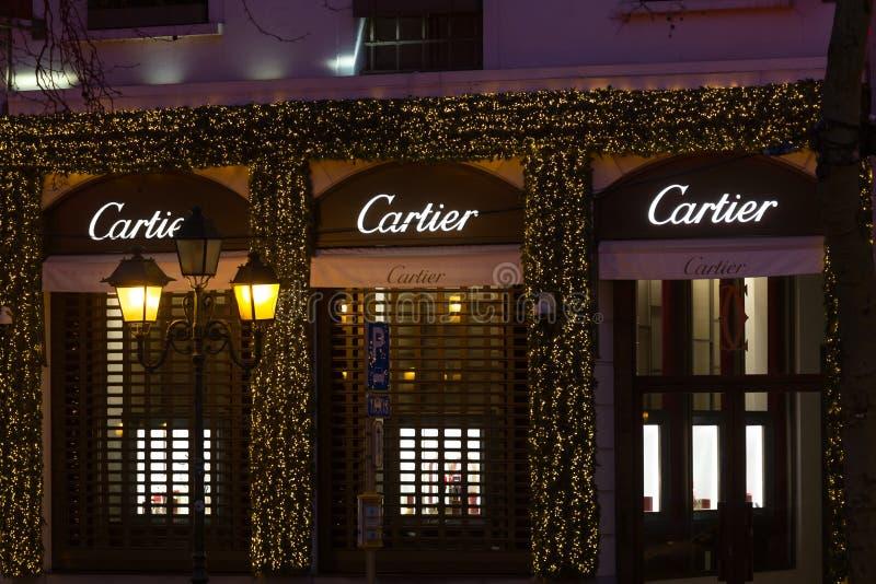 Bruxelles, Bruxelles/Belgique - 13 12 18 : le magasin cartier signent dedans Bruxelles Belgique image stock