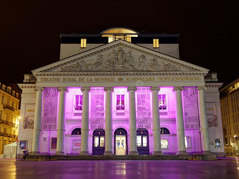 Bruxelles, Belgium - Apr 2019: Facade view theatre royal de la Monnaie in Bruxelles Belgium illuminated at night.  stock photography