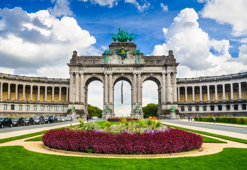 Bruxelles, Belgium. Parc du Cinquantenaire with the Arch built for the Golden Jubilee celebrations of Belgian independence in 1880. Brussels stock photos