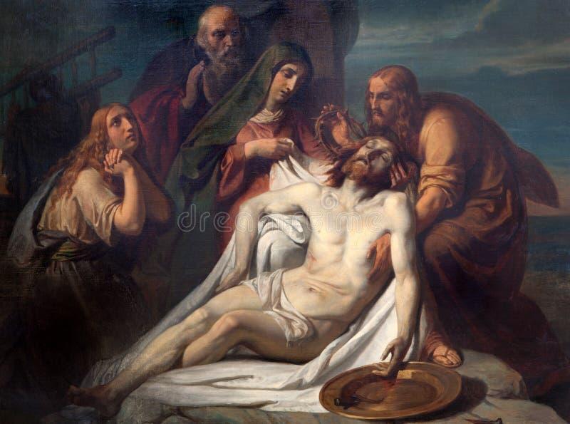 Bruxelles - dépôt de la croix. Peinture d'église Notre Dame du Finstere photographie stock