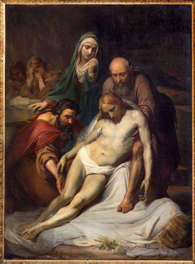 Bruxelles - Depositioin de la croix par Jean Baptiste van Eycken (1809 - 1853) en Notre Dame de la Chapelle images libres de droits