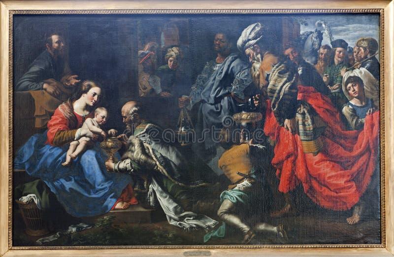 Bruxelles - peinture de l'adoration de trois Magi photos libres de droits