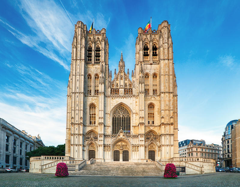 Bruxelles - St Michael e cattedrale della st Gudula fotografie stock libere da diritti
