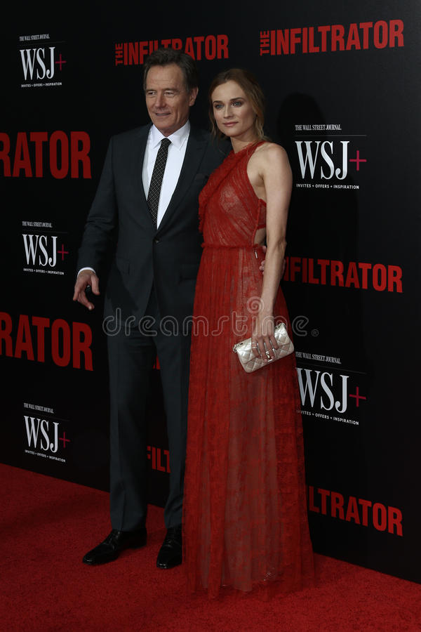 Bryan Cranston, Diane Kruger. NEW YORK-JULY 11: Actors Bryan Cranston L and Diane Kruger attend `The Infiltrator` New York premiere at AMC Loews Lincoln Square stock photo