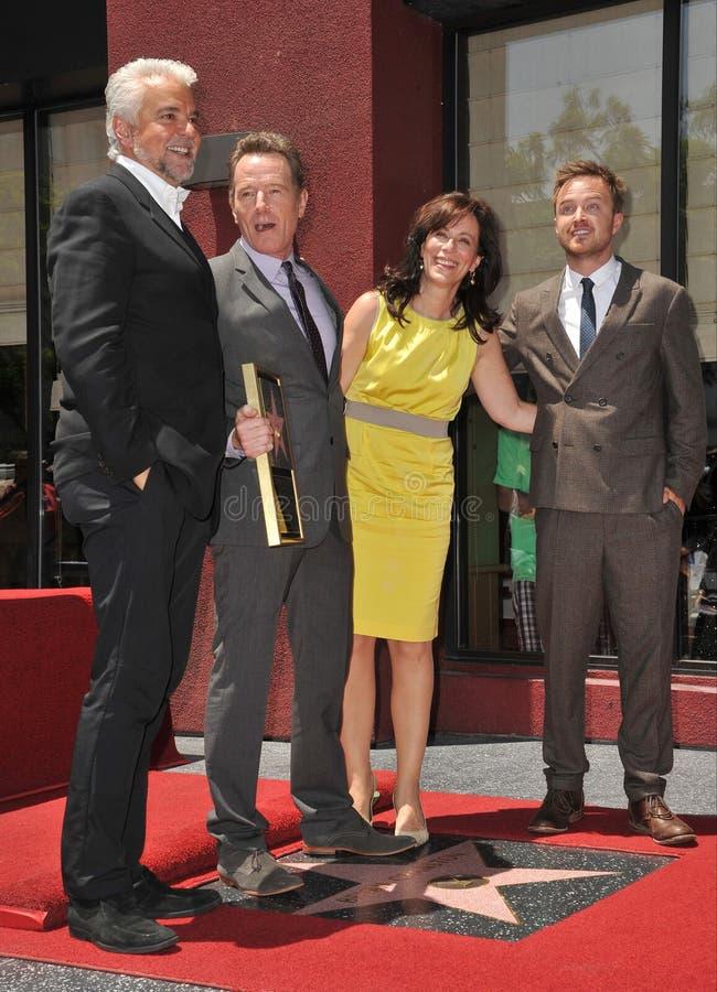 Bryan Cranston & Frankie Muniz & Jane Kaczmarek & John O'Hurley royaltyfri fotografi
