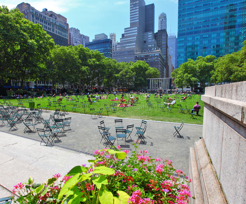 Bryant Park. In manhattan New York city on a summers day stock image