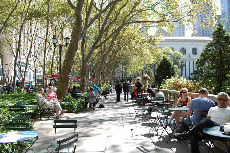 Bryant Park. In midtown Manhattan by the New York City public library stock photo