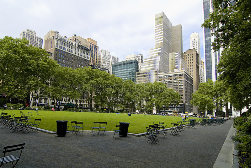 Bryant Park. The picture shows an over view of Bryant Park in Manhattan, New York City with skyscrapers in the background royalty free stock photos