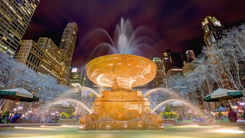 Bryant Park. Fountain in Bryant Park in New York City stock images