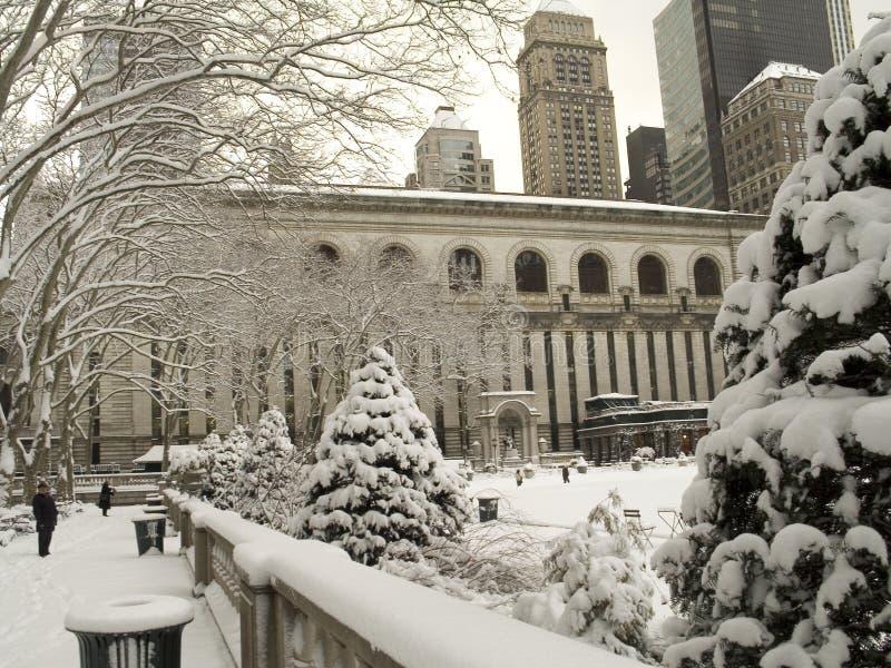 Bryant-Park im Winter lizenzfreie stockbilder
