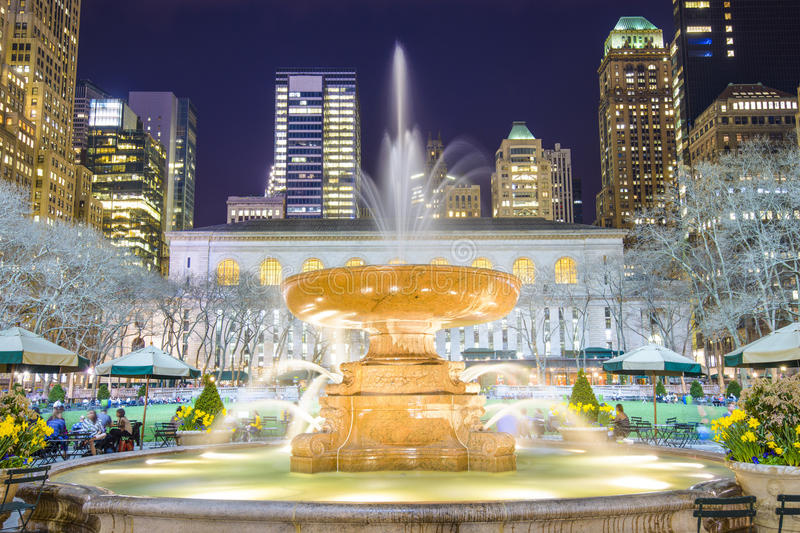 Bryant Park New York City. New York City cityscape at Bryant Park in Manhattan stock images