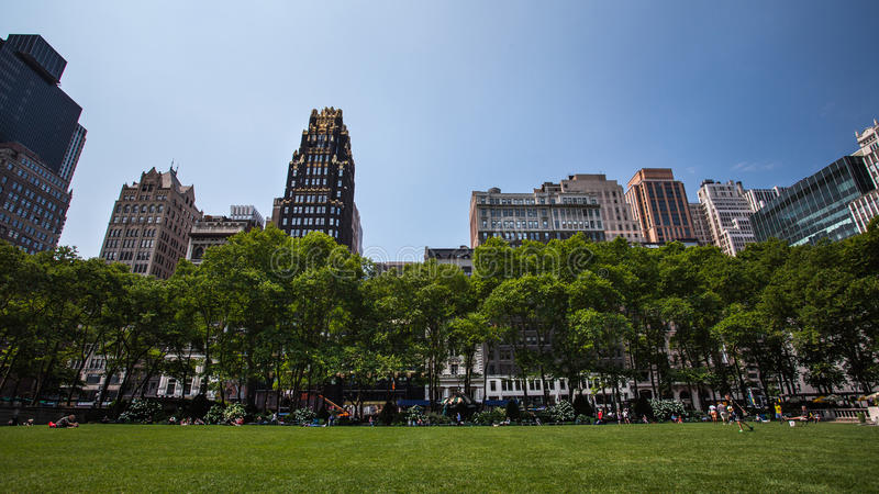Bryant Park New York CIty. Great view of some skyscrapers from the lawn of Bryant Park New York City stock images