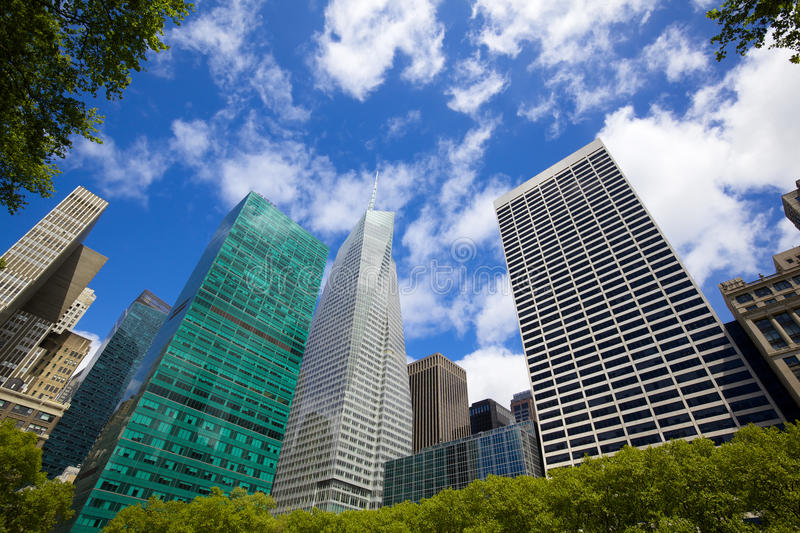 Bryant Park Skyscrapers. Midtown Manhattan highrise buildings as seen from Bryant Park, New York royalty free stock image
