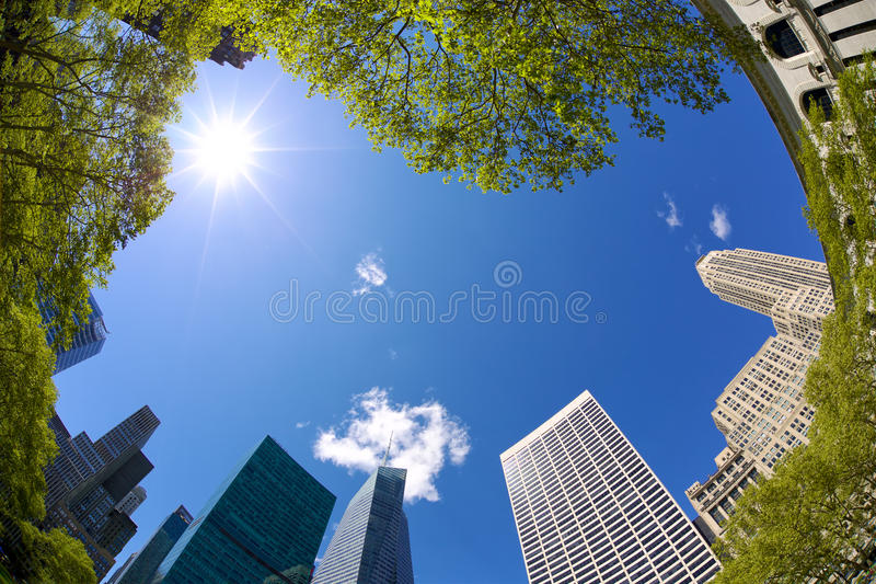 Bryant Park Skyscrapers. Looking up Midtown Manhattan highrise buildings, Bryant Park, New York royalty free stock image