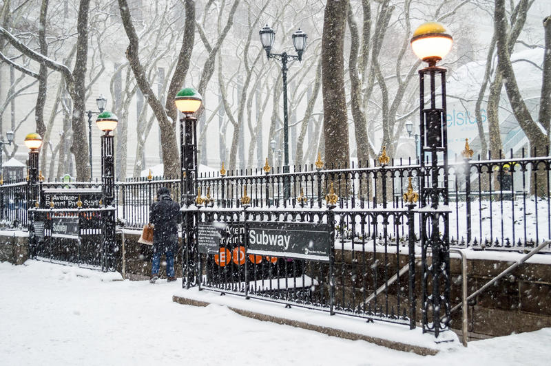 Download Bryant Park Subway Snow editorial stock photo. Image of winter - 37128523