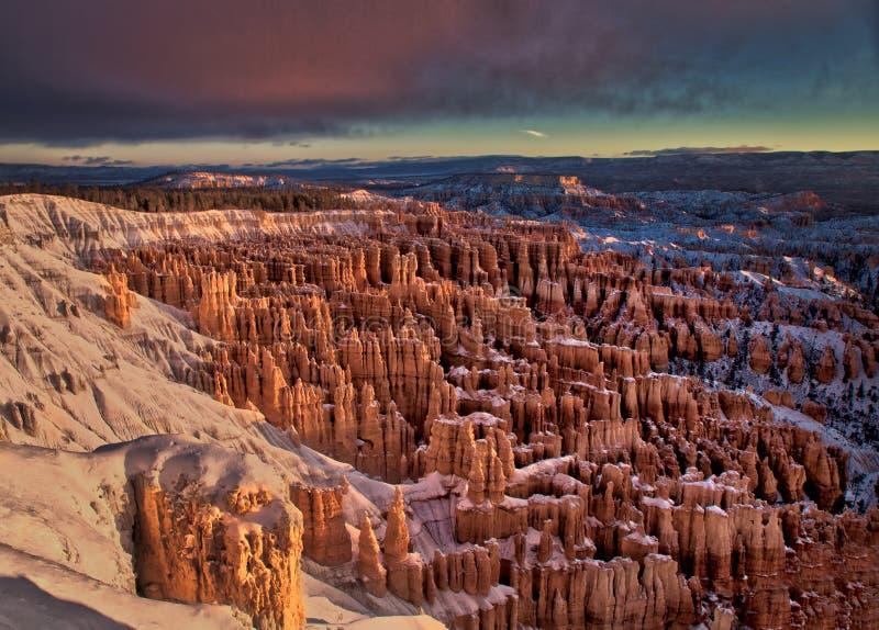 Bryce Canon Winter Sunrise royalty free stock image