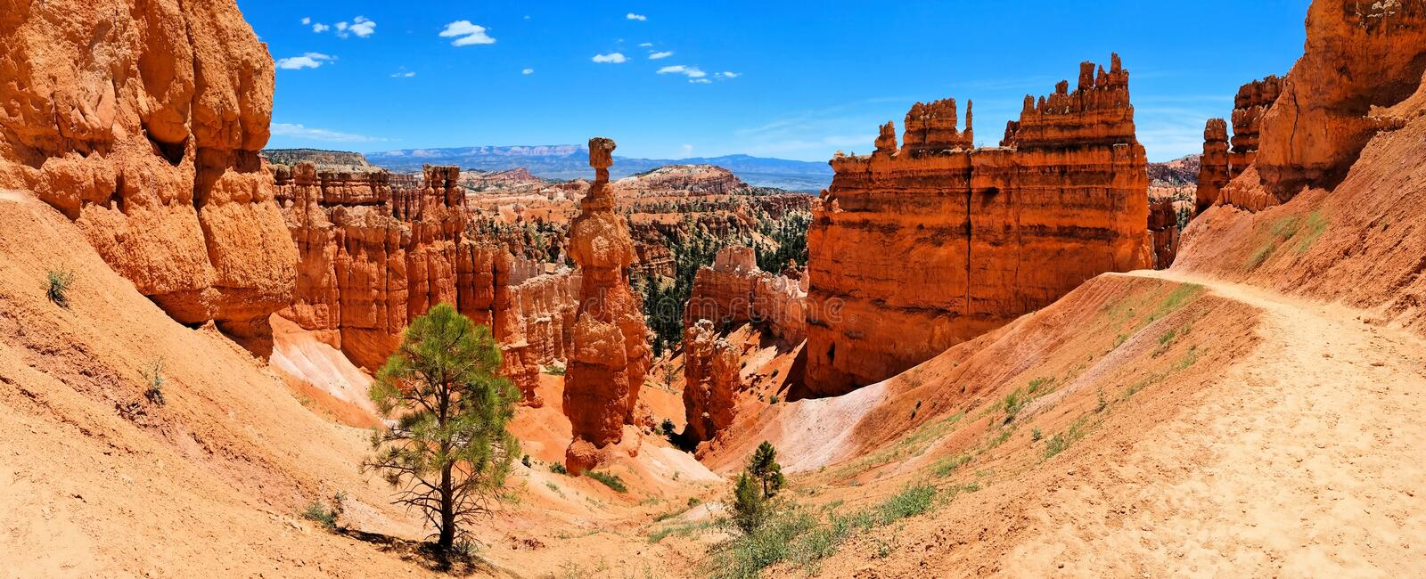 Bryce Canyon National Park panorama with Thor`s Hammer, Utah, USA royalty free stock images