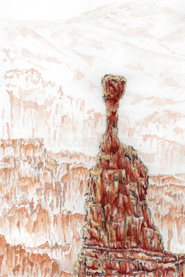 Bryce Canyon National Park, Utah, USA. Thor`s Hammer. Watercolor on paper royalty free illustration