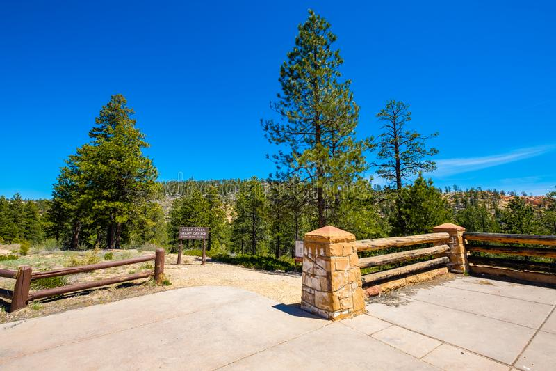 Bryce Canyon Utah. Farview Point sign in the beautiful Bryce Canyon National Park in Utah royalty free stock photography