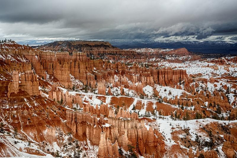 Bryce Canyon landscape in winter stock images