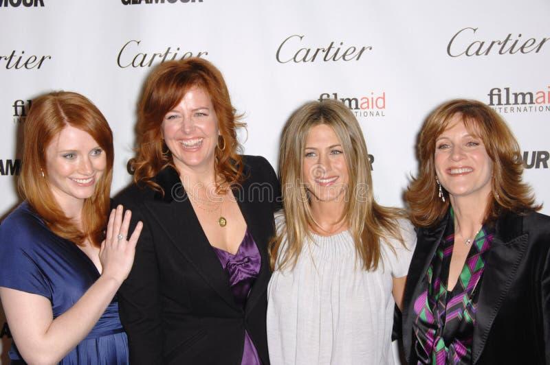 Bryce Dallas Howard, Carol Leifer, Jennifer Aniston, Andrea wird stockbild