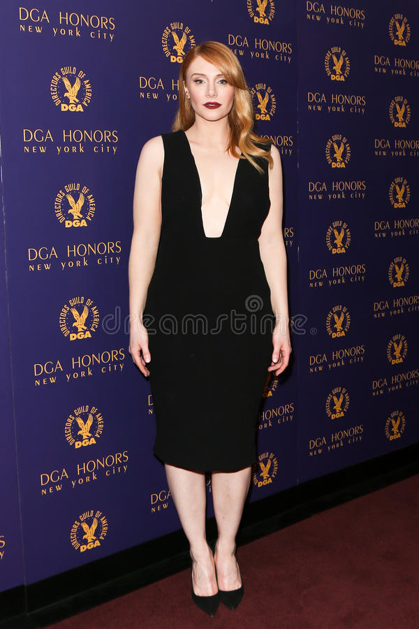 Bryce Dallas Howard. NEW YORK-OCT 15: Actress Bryce Dallas Howard attends the DGA Honors Gala 2015 at the DGA Theater on October 15, 2015 in New York City royalty free stock images