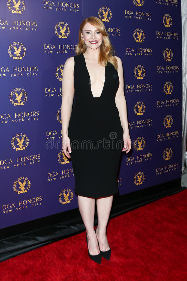 Bryce Dallas Howard. NEW YORK-OCT 15: Actress Bryce Dallas Howard attends the DGA Honors Gala 2015 at the DGA Theater on October 15, 2015 in New York City royalty free stock image