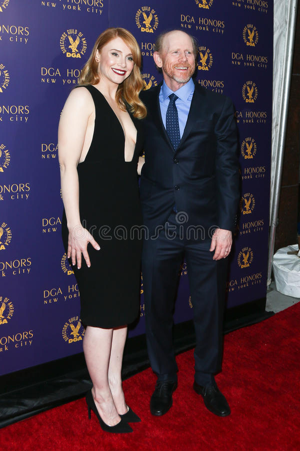 Bryce Dallas Howard, Ron Howard. NEW YORK-OCT 15: Actress Bryce Dallas Howard and Ron Howard attend the DGA Honors Gala 2015 at the DGA Theater on October 15 stock image