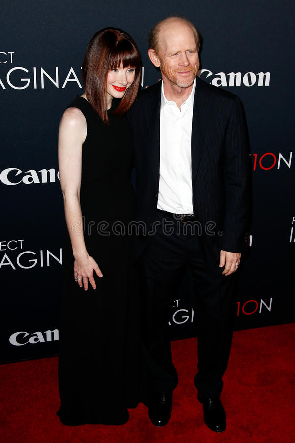 Bryce Dallas Howard, Ron Howard. NEW YORK- OCT 24: Bryce Dallas Howard (L) and Ron Howard attend the global premiere of Canon's Project Imagination Film Festival stock photo