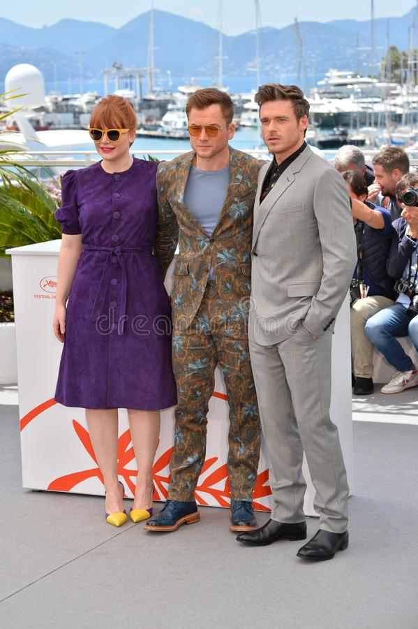 Bryce Dallas Howard, Taron Egerton & Richard Madden. CANNES, FRANCE. May 16, 2019: Bryce Dallas Howard, Taron Egerton & Richard Madden  at the photocall for the royalty free stock images