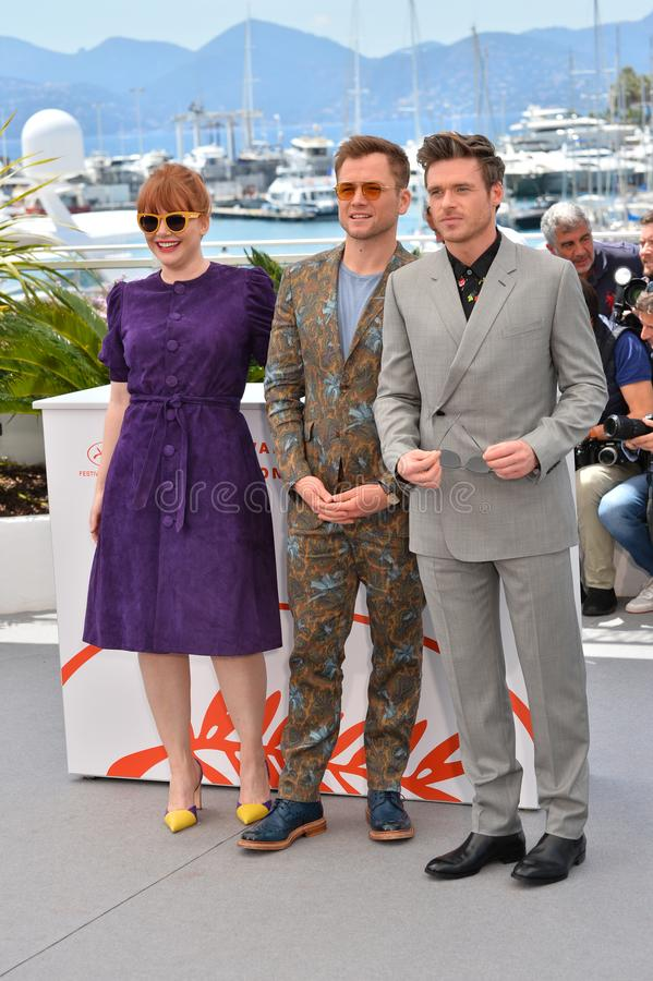 Bryce Dallas Howard, Taron Egerton & Richard Madden. CANNES, FRANCE. May 16, 2019: Bryce Dallas Howard, Taron Egerton & Richard Madden  at the photocall for the stock photos