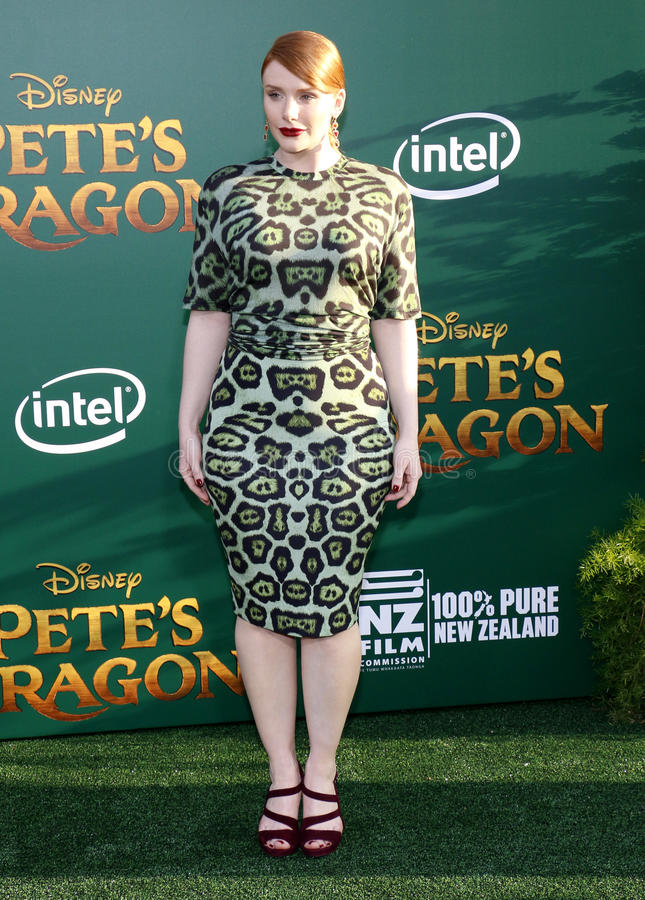 Bryce Dallas Howard. At the World premiere of 'Pete's Dragon' held at the El Capitan Theatre in Hollywood, USA on August 8, 2016 stock photos