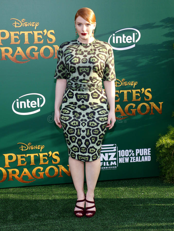 Bryce Dallas Howard. At the World premiere of 'Pete's Dragon' held at the El Capitan Theatre in Hollywood, USA on August 8, 2016 stock photo