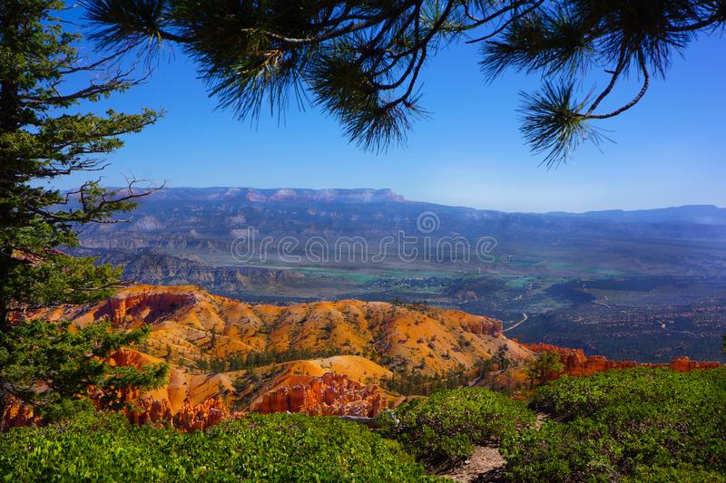 Bryce National Park Agua Canyon Plateau View. Hoodoos irregular columns of rock exist on every continent, but here is the largest concentration found anywhere on stock photo