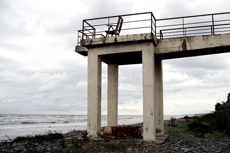 Bryczka hol na balkonie morzem obraz royalty free
