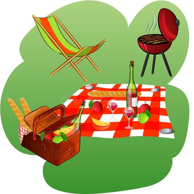 Bryczki longue, grill, koc, kosz z pyknicznymi produktami ilustracja wektor